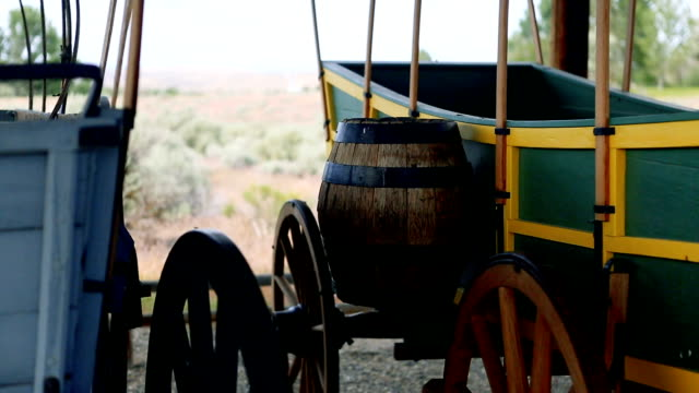 Wagon and barrel in the high desert video