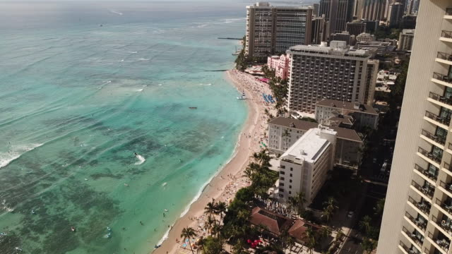 Waikiki Beach Aerial of The Ocean and Coastline Drone shot of Waikiki beach and the city in the foreground. oahu stock videos & royalty-free footage