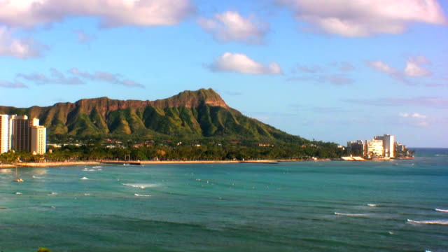 Waikiki Beach and Diamond Head A view of Waikiki Beach with Diamond Head on a beautiful day waikiki stock videos & royalty-free footage