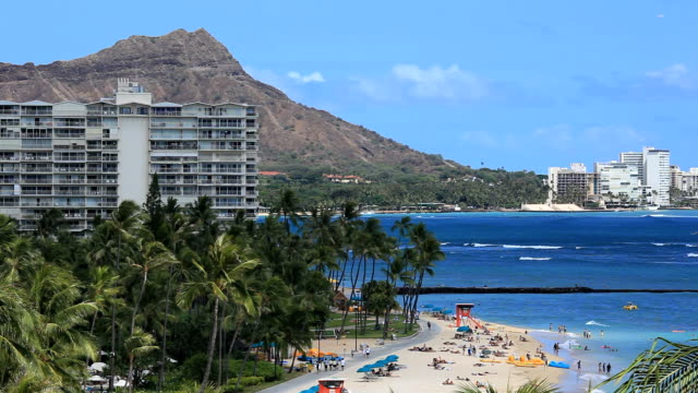 Waikiki Beach and Diamond Head video
