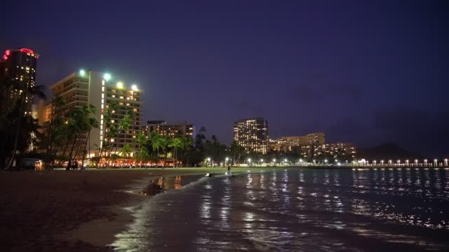 Waikiki Beach at dusk / Honolulu, HI, USA