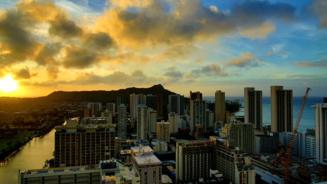 Waikiki Beach sunrise time lapse video