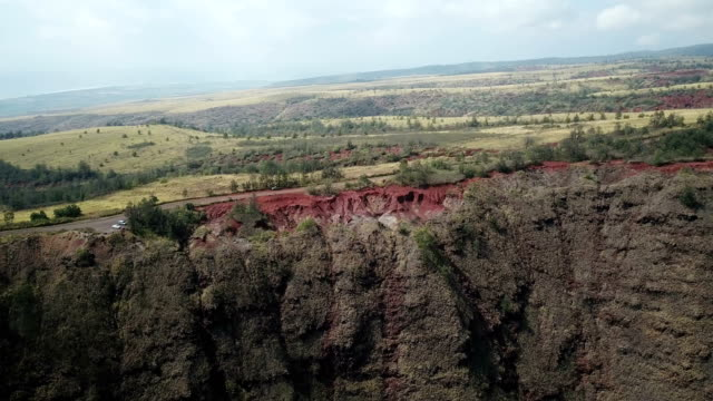 Waimea Island Red Cliffs by Drone in Afternoon video