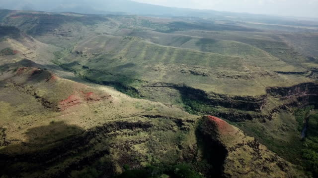Waimea Island Valleys Far Below Drone Perspective video