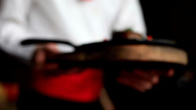 Waiter serving fresh steak with grilled vegetables video