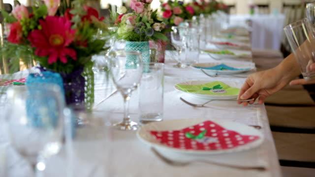 Waiter Setting The Table In Restaurant video