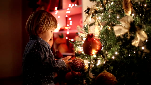 waiting for presents under christmas tree - cena di natale video stock e b–roll