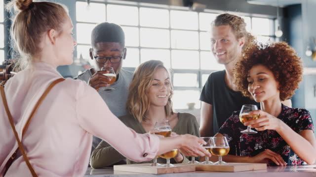 ビールテイスティングイベントのためにバーで友人のグループを提供するウェイトレス - スローモーションで撮影 - 醸造所点の映像素材/bロール