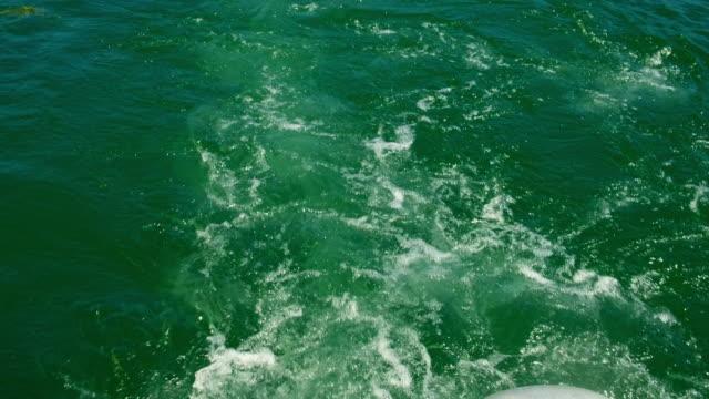 Wake behind pleasure boat Wake behind a pleasure boat recreational boat stock videos & royalty-free footage