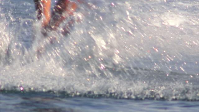 HD Wakeskater on Lake Close-up (Slow Motion) video