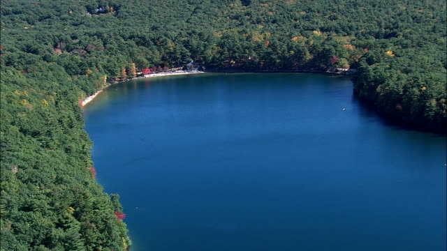 Walden Pond  - Aerial View - Massachusetts,  Middlesex County,  United States video