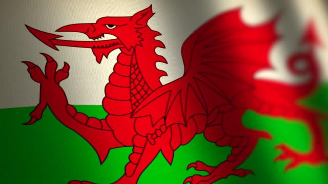Wales flag - loop. 4K. video