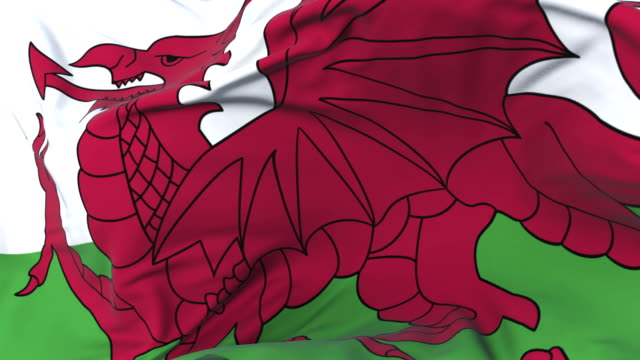 Wales flag waving at wind in slow with blue sky, loop video
