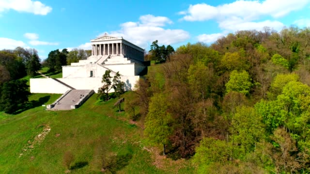 walhalla memorial above the danube river flyover - neoclassical architecture stock videos & royalty-free footage