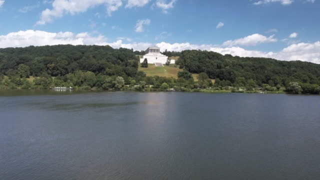 walhalla memorial above the danube river - neoclassical architecture stock videos & royalty-free footage