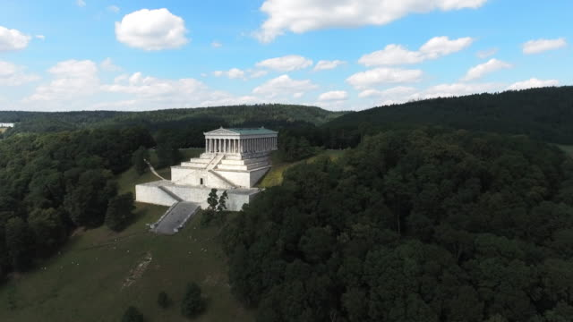 Walhalla Memorial Above The Danube River Aerial shot made from drone point of view. 4K/Ultra High Definition neoclassical architecture stock videos & royalty-free footage