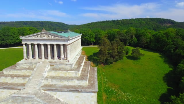 walhalla memorial near regensburg in bavaria - neoclassical architecture stock videos & royalty-free footage