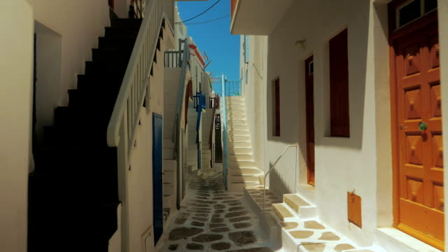 POV Walk Along Traditional Cycladic Houses in the Greek Island of Mykonos video