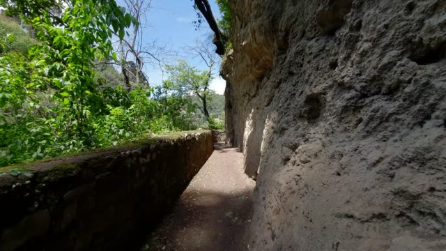 Walk at the cliff in the wildlife Park. First person view. Walk in the wild