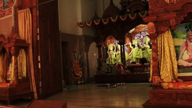 Walk past the deities in  Hindu Vaisnava temple. video