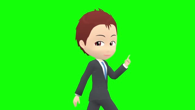 [Walk Pose A] Man suit short side angle upper body Japanese man character anticipation stock videos & royalty-free footage