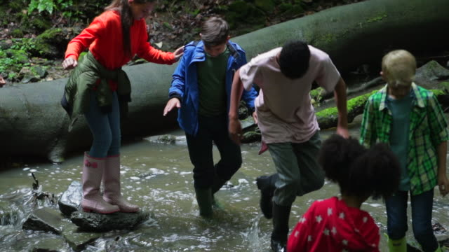 vidéos et rushes de traverser une rivière en marchant - élève