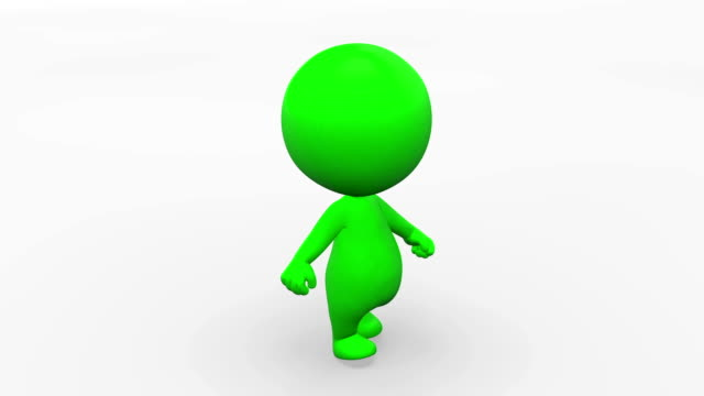 3D Walking animated character video