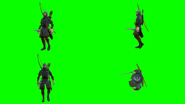 Walking Archer Green Screen (Loopable) Soft Background knight person stock videos & royalty-free footage