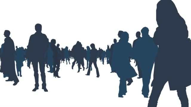 walking around large crowd of people in white isolated background video