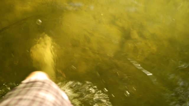 Walking barefoot in water of lake video