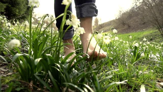 hd super slow-motion: camminare a piedi nudi a primavera fiocchi di neve - scalzo video stock e b–roll