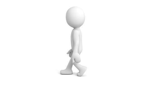 Camminare ciclo bianco personaggio 3d - video
