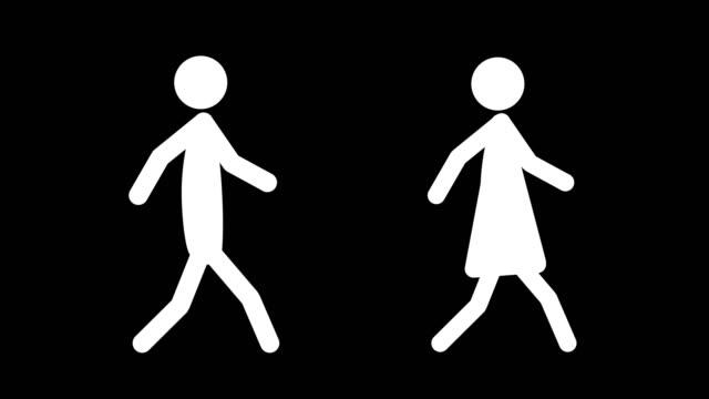 Walking Figures Silhouette (Loopable) video