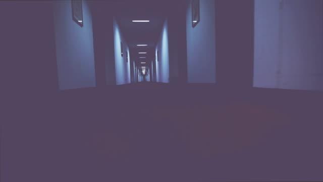 Walking in a creepy hotel corridor video