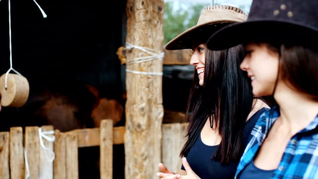 Walking in a horse stable Two farm girls are spending time with horses at stable , they just love horses and feel very happy and free when they are with them cowgirl stock videos & royalty-free footage