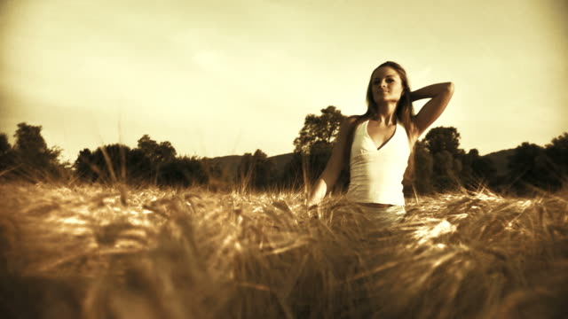 HD: Walking In A Wheat Field  sepia toned stock videos & royalty-free footage