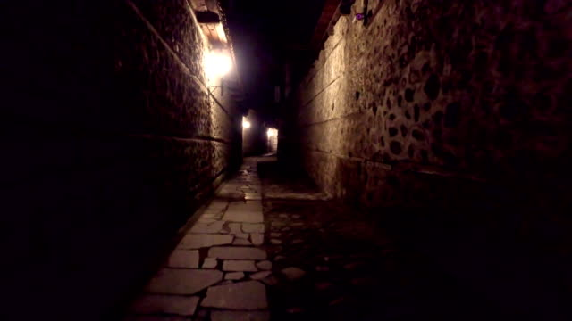 Walking POV in An old-fashioned Dark Alleyway