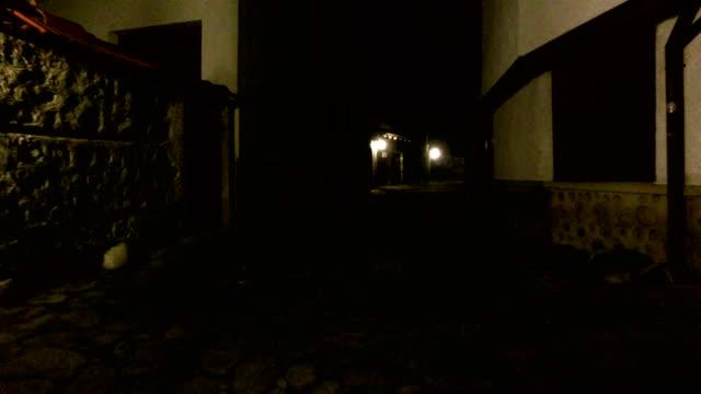 Walking POV in An old-fashioned Dark Alleyway video