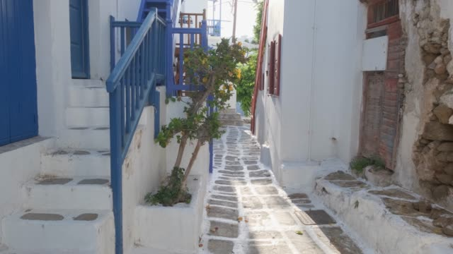 Walking in Mykonos street on Mykonos island, Greece