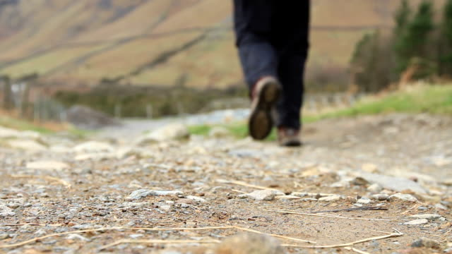 walking mountain path - uzun adımlarla yürümek stok videoları ve detay görüntü çekimi