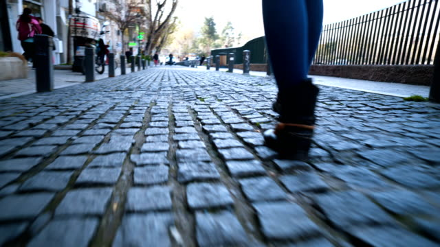 Walking on cobblestone streets