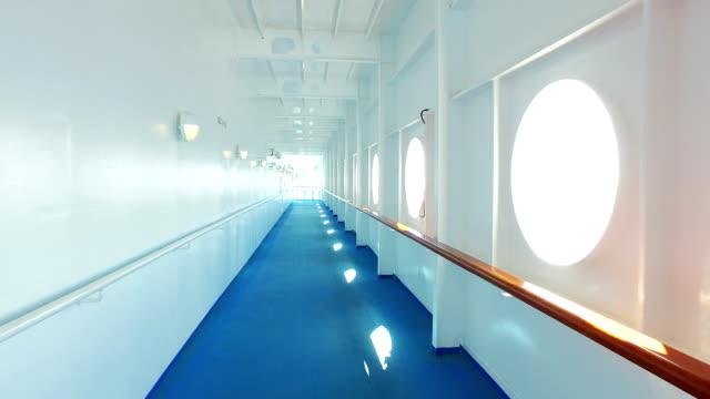 gå pov på cruise ship deck - skrov bildbanksvideor och videomaterial från bakom kulisserna