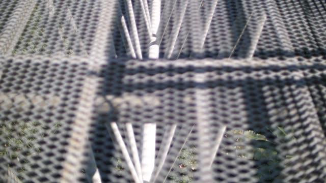 Walking on metal bridge