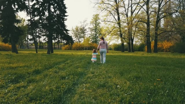 Walking on spring meadow Rear view of a woman and her toddler girl holding hands and walking along the park on sunset. They are enjoying the beautiful spring day outdoors. natural parkland stock videos & royalty-free footage