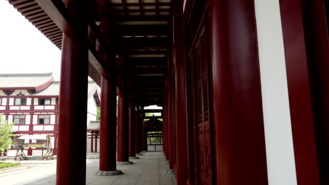 Walking on the corridor of ancient buildings