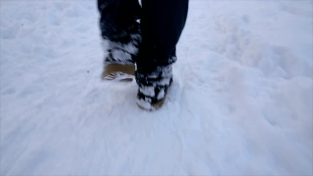 walking on the snow,close up - trekking sul ghiaccio video stock e b–roll