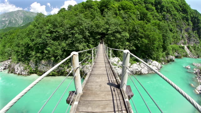 Walking over a hanging bridge video