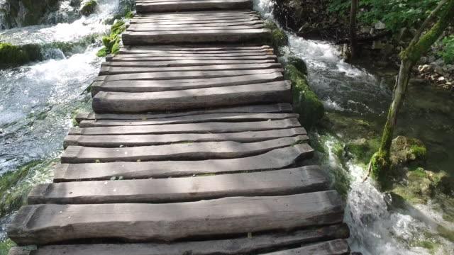 walking over water in plitvice lakes - национальный парк плитвицкие озёра стоковые видео и кадры b-roll