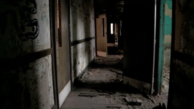 FPV: Walking terrified through dark narrow hallway in abandoned ghostly clinic