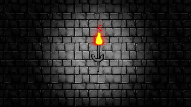 walking through a dungeon with torches hanging on a brick wall - gothic fashion stock videos and b-roll footage